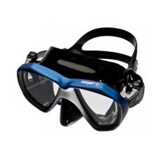 """Маска """"НЕМАН"""" черный силикон, рамка черная/синяя отделка """"leatherpaint"""" Sargan M-2203LKS-B"""