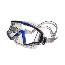 "Маска ""ПРАКТИКА"" прозрачный силикон, рамка черная/синяя отделка Sargan M-3302A-B"