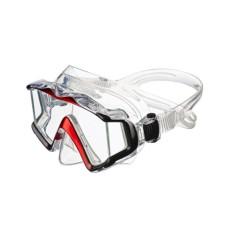 """Маска """"ПРАКТИКА"""" прозрачный силикон, рамка черная/красная отделка Sargan M-3302A-R"""
